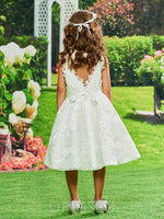 Tea-Length A-Line Scoop Lace Backless Flower Girl Dress