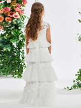 Tiered A-Line Tulle Cap Sleeves Flower Girl Dress