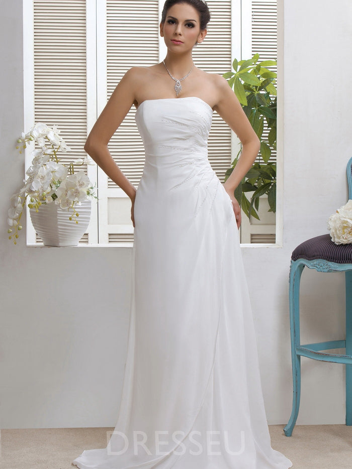 Beading Floor-Length Watteau Strapless Beach Wedding Dress