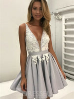 A-Line Sleeveless Short/Mini V-Neck Prom Dress