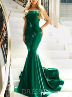 Strapless Trumpet/Mermaid Sleeveless Green Long Prom Dress