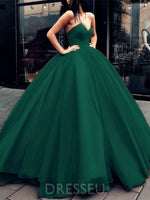 Sleeveless V-Neck Organza Ball Gown Long Prom Dress
