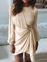 Long Sleeve Above Knee Asymmetric Spring Pullover Dress