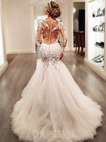 Trumpet/Mermaid Appliques Court Scoop Backless Wedding Dress