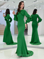 Scoop Floor-Length Sweep/Brush Trumpet/Mermaid Evening Dress