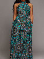 Sleeveless Floor-Length Print High Waist Pullover Dress