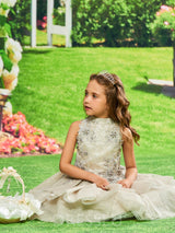 Knee-Length Jewel Neck Lace Appliques Beading Flower Girl Dress