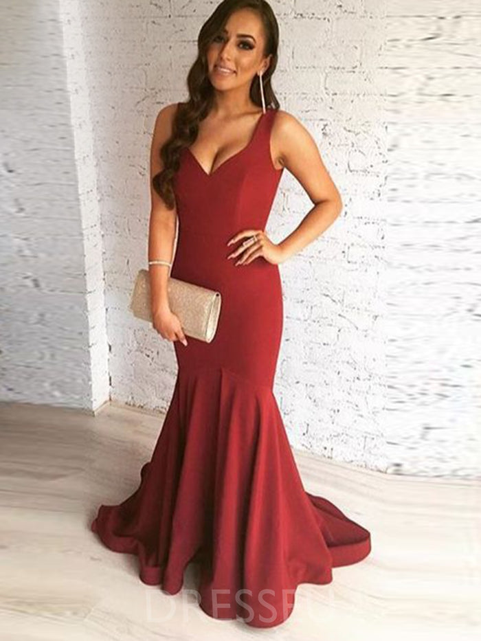 Sweep/Brush Train Trumpet/Mermaid Sleeveless Long Prom Dress