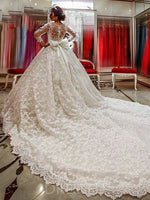 Ball Gown Scoop 3/4 Length Sleeves Floor-Length Cathedral Train Lace Wedding Dress