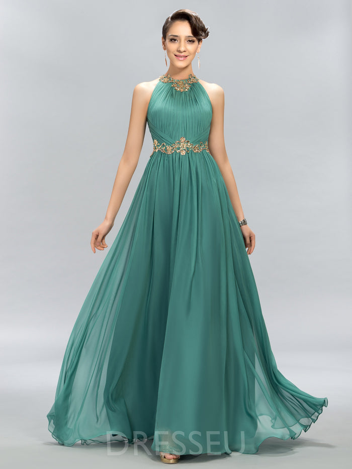 A-Line Floor-Length Sequins Sleeveless 30D Chiffon Evening Dress