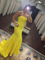 Yellow Sleeveless Trumpet/Mermaid Sweetheart Long Prom Dress
