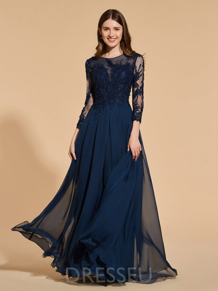 3/4 Length Sleeves Beading Bateau A-Line Prom Dress