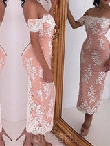 Lace Short Sleeves Sheath/Column Off-The-Shoulder Evening Dress