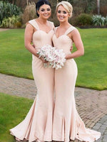 Sweep/Brush Floor-Length Trumpet/Mermaid Straps Bridesmaid Dress