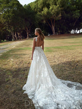 Sexy Deep V Neck Open Back Lace Floor-Length Wedding Dress