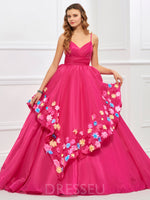 Ball Gown Spaghetti Straps Floor-Length Flowers Prom Dress