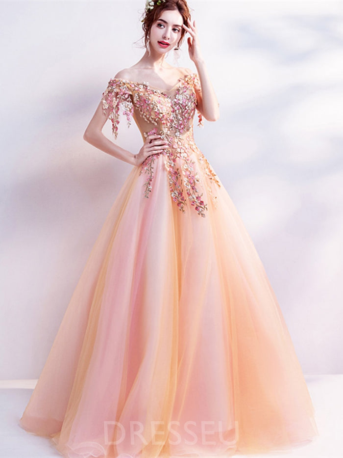Flowers Ball Gown Floor-Length Off-The-Shoulder Quinceanera Dress
