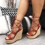 Open Toe Wedge Heel Lace-Up Strappy Casual Casual Sandals