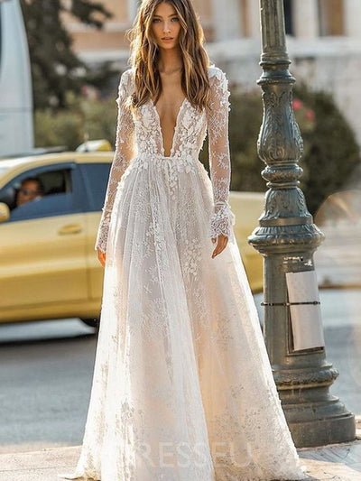 Ball Gown Long Sleeves V-Neck Sweep/Brush Garden/Outdoor Wedding Dress