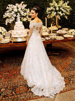 Vintage Off-The-Shoulder Long Sleeves A-Line Lace Wedding Dress