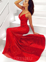 Sequins Trumpet/Mermaid Floor-Length Sweep/Brush Prom Dress