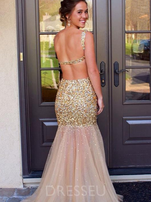 Floor-Length Sequins Straps Sleeveless Formal Dress
