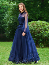 A-Line Long Sleeves Beading High Neck Evening Dress
