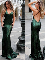 V-Neck Sequins Trumpet/Mermaid Sleeveless Prom Dress