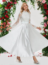 Ankle-Length Beading Long Sleeves A-Line Wedding Dress
