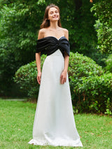 Short Sleeves Off-The-Shoulder A-Line Floor-Length Evening Dress