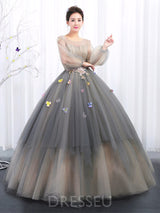 Long Sleeves Beading Scoop Ball Gown Quinceanera Dress