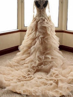 Long Sleeves V-Neck Ball Gown Lace Organza Wedding Gowns