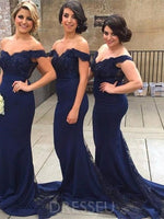 Trumpet/Mermaid Off-The-Shoulder Floor-Length Sweep/Brush Bridesmaid Dress