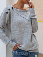 Regular Asymmetric Regular Loose Round Neck Sweater