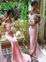 Floor-Length Off-The-Shoulder Long Sleeves Court Bridesmaid Dress