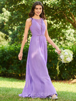 Scoop Button A-Line Sleeveless 30D Chiffon Bridesmaid Dress