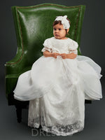 Lace Tulle Infant Baby Girl's Christening Gown with Headpiece