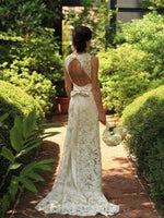 Floor-Length Sweetheart Lace Sweep/Brush Train Backless Wedding Dress