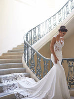 Sweep/Brush Floor-Length Trumpet/Mermaid Spaghetti Straps Garden/Outdoor Wedding Dress