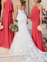 Sheath/Column Halter Floor-Length Sweep/Brush Bridesmaid Dress