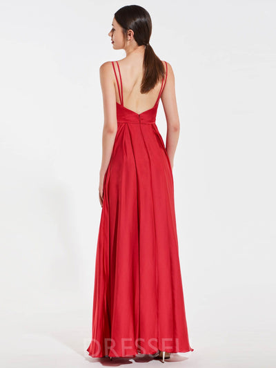 A-Line Sleeveless Floor-Length Spaghetti Straps Bridesmaid Dress