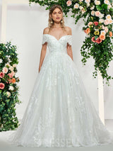 Off-The-Shoulder Ball Gown Floor-Length Sleeveless Vintage Wedding Dress