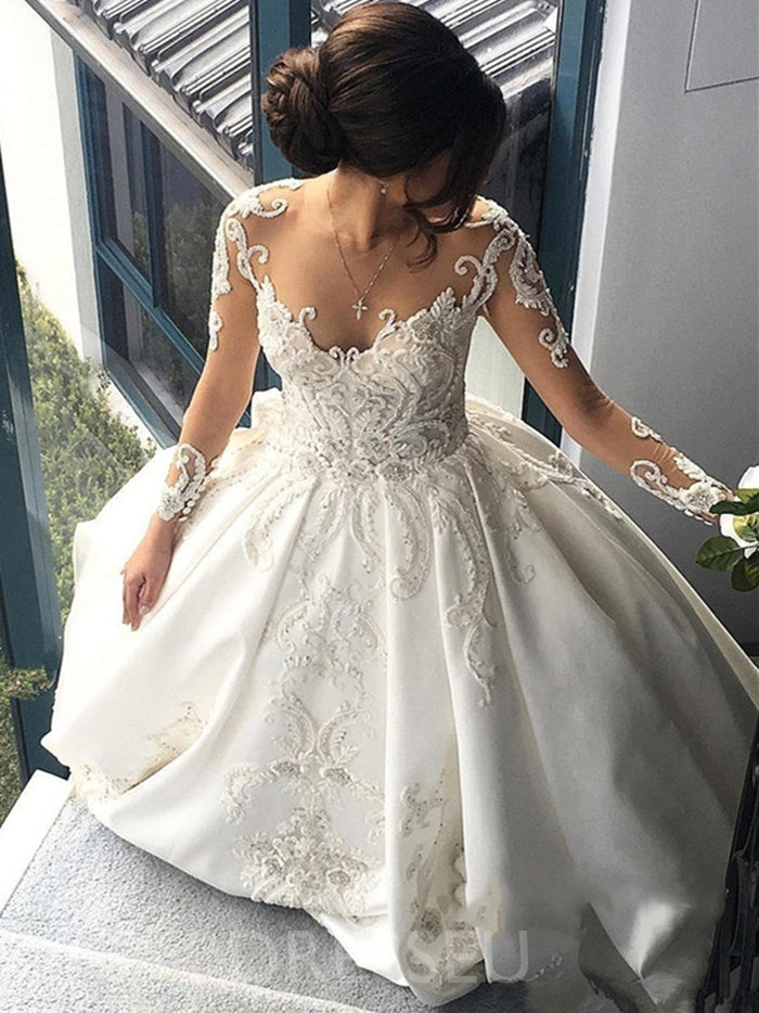 V-Neck Cathedral Ball Gown Appliques Wedding Dress