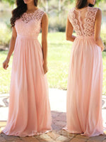 A-Line Scoop Lace Sleeveless Bridesmaid Dress
