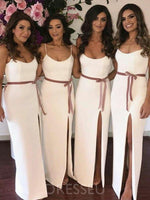 Spaghetti Straps Floor-Length Sheath/Column Sleeveless Bridesmaid Dress