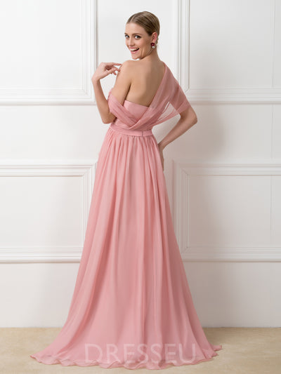A-Line Strapless Pick-Ups Long 30D Chiffon Bridesmaid Dress