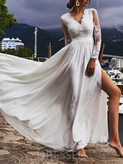 Floor-Length Split-Front V-Neck Long Sleeves Garden/Outdoor Wedding Dress