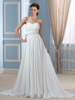 Sweep/Brush Beading Floor-Length A-Line Beach Dress