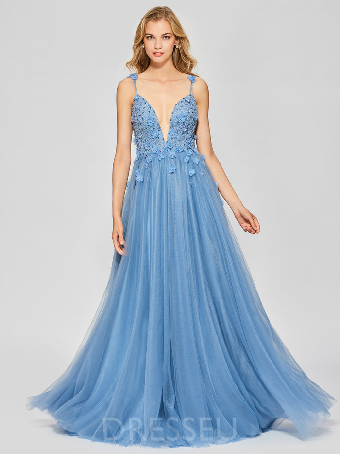 Spaghetti Straps Ball Gown Floor-Length Appliques Prom Dress