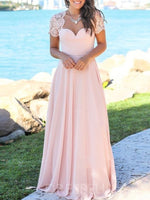 Sweetheart Floor-Length Short Sleeves A-Line Bridesmaid Dress